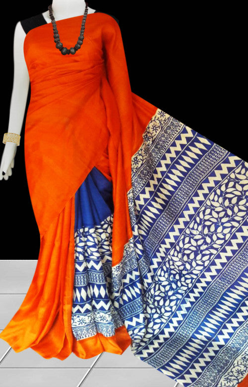 Orange and blue color combination sonamukhi silk saree