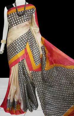 Multicolor combination sonamukhi silk saree with block print