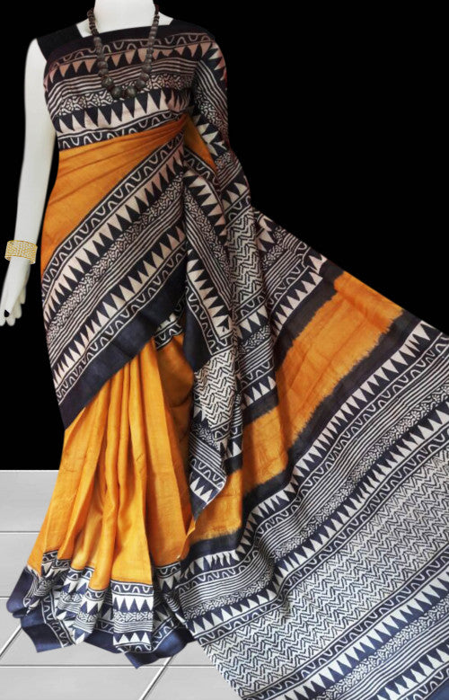 Yellow, black and white color combination sonamukhi silk saree with block print