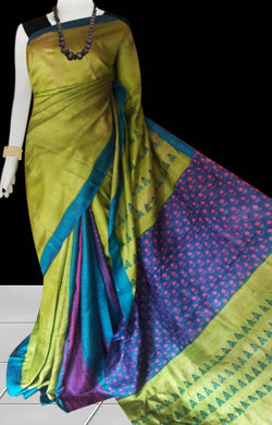 Olive green base multicolor combination sonamukhi silk saree with block print