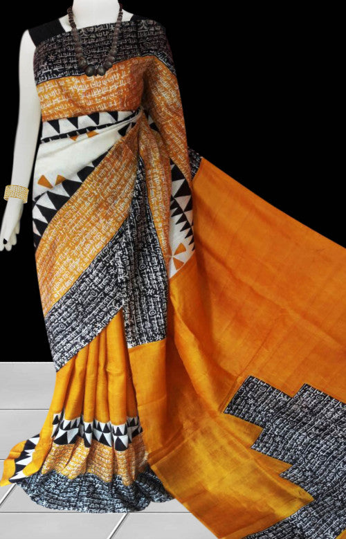 Orange base sonamukhi silk saree with block print