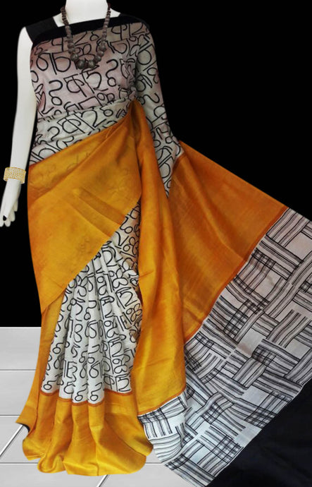 Yellow and white color base sonamukhi silk saree with block print work