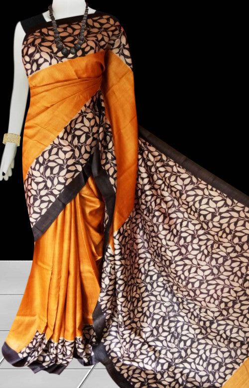Orange color base sonamukhi silk saree with block print work