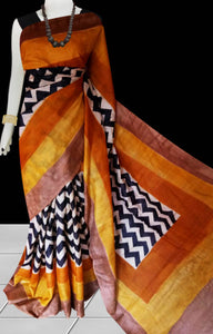 Multi color base sonamukhi silk saree with block print work