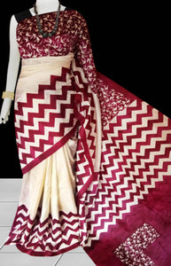 Cream and red color base sonamukhi silk saree with block print work