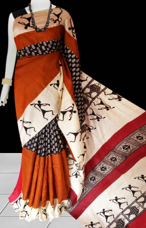 Orange and cream color base sonamukhi silk saree with block print work