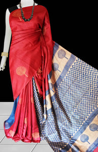 Red color base sonamukhi silk saree with block print work
