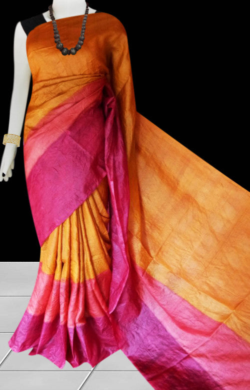 Pink and orange color base sonamukhi silk saree with block print work