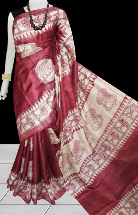 Maroon color base sonamukhi silk saree with block print work