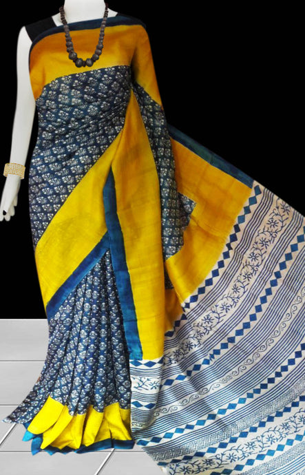 Yellow and blue color combination sonamukhi silk saree with block print work