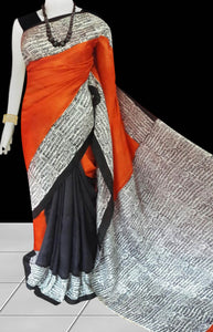 Black, orange and white color combination sonamukhi silk saree with block print work