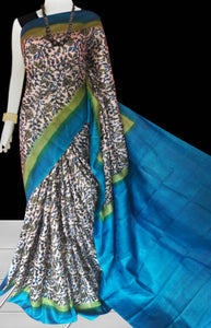 Blue and white Color Sonamukhi Silk Block Printed Saree