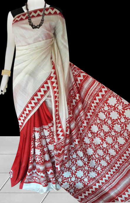 White & Red Color Sonamukhi Silk Block Printed Saree