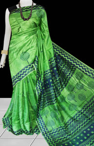 Green Color Sonamukhi Silk Block Printed Saree