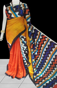 Multi Color Sonamukhi Silk Block Printed Saree