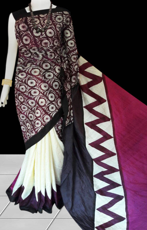 Multi color combination sonamukhi silk saree with block print