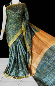 Green Color Sonamukhi Silk Saree With Block Print