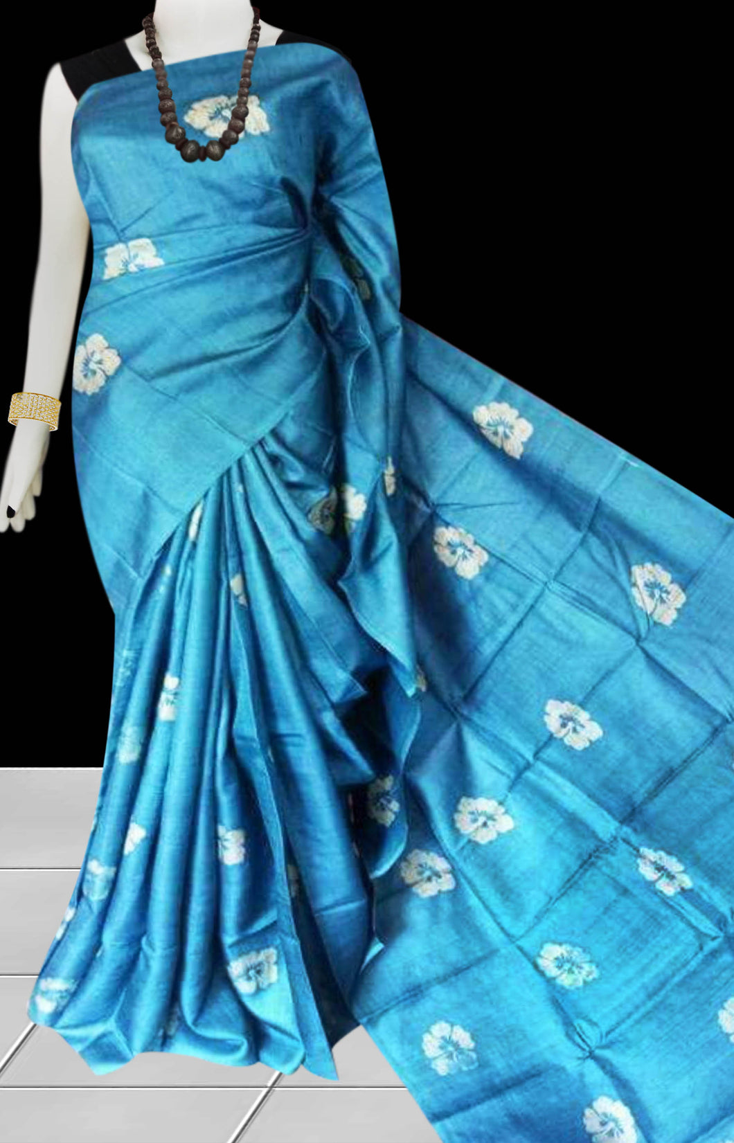 Blue Color Sonamukhi Silk Saree With Block Print