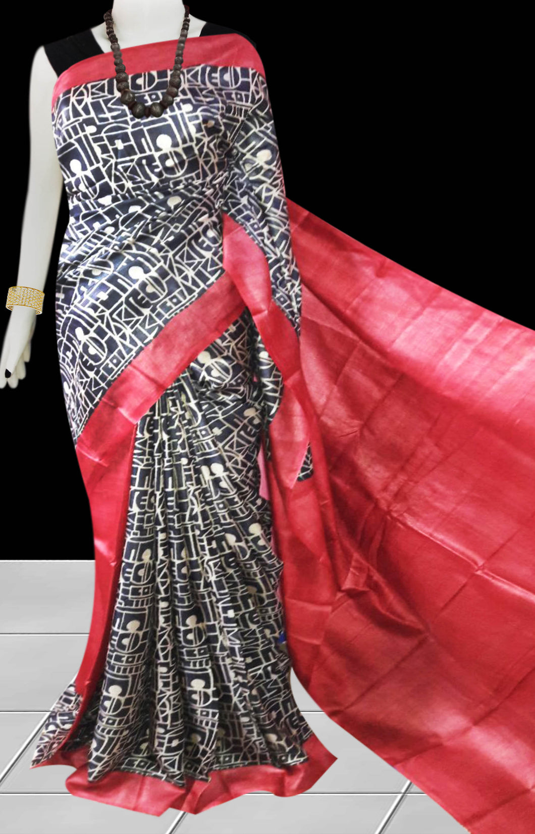 Red & Black color base sonamukhi silk saree