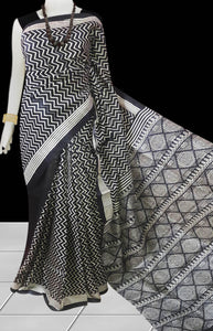Black & White Sonamukhi Silk Block Printed Saree