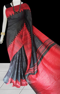 Red and black color combination sonamukhi silk saree with block print
