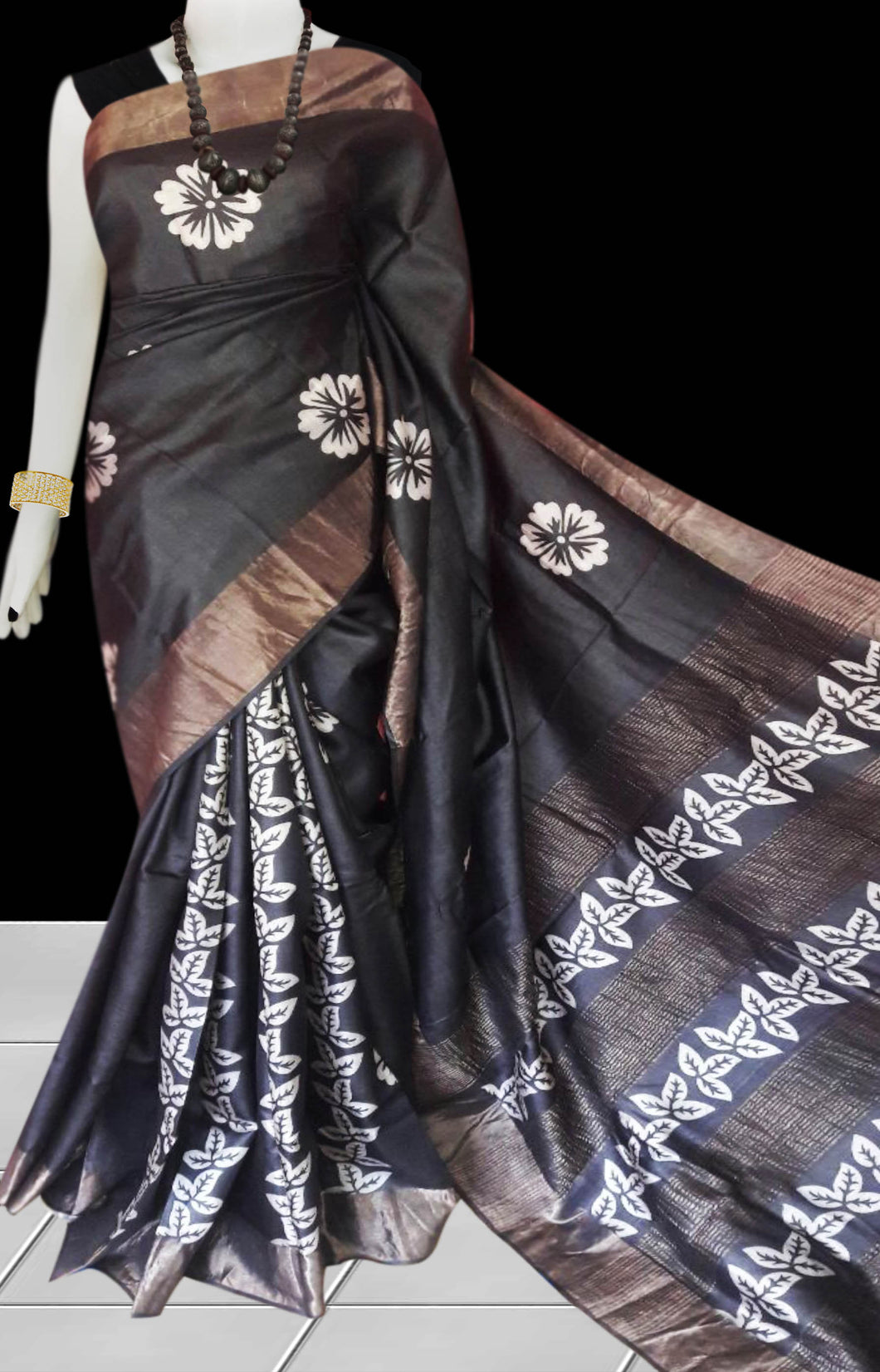 Black & White Color Pure Tusser silk block printed saree