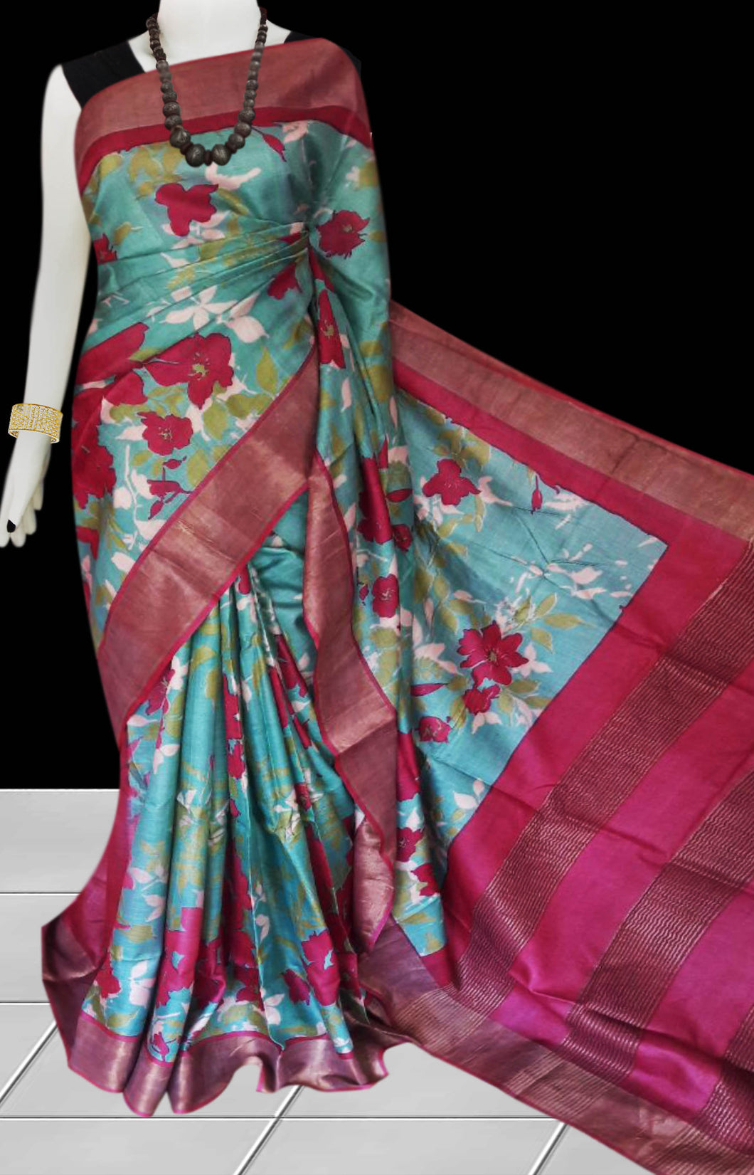 Blue & Pink Pure Tusser silk block printed saree