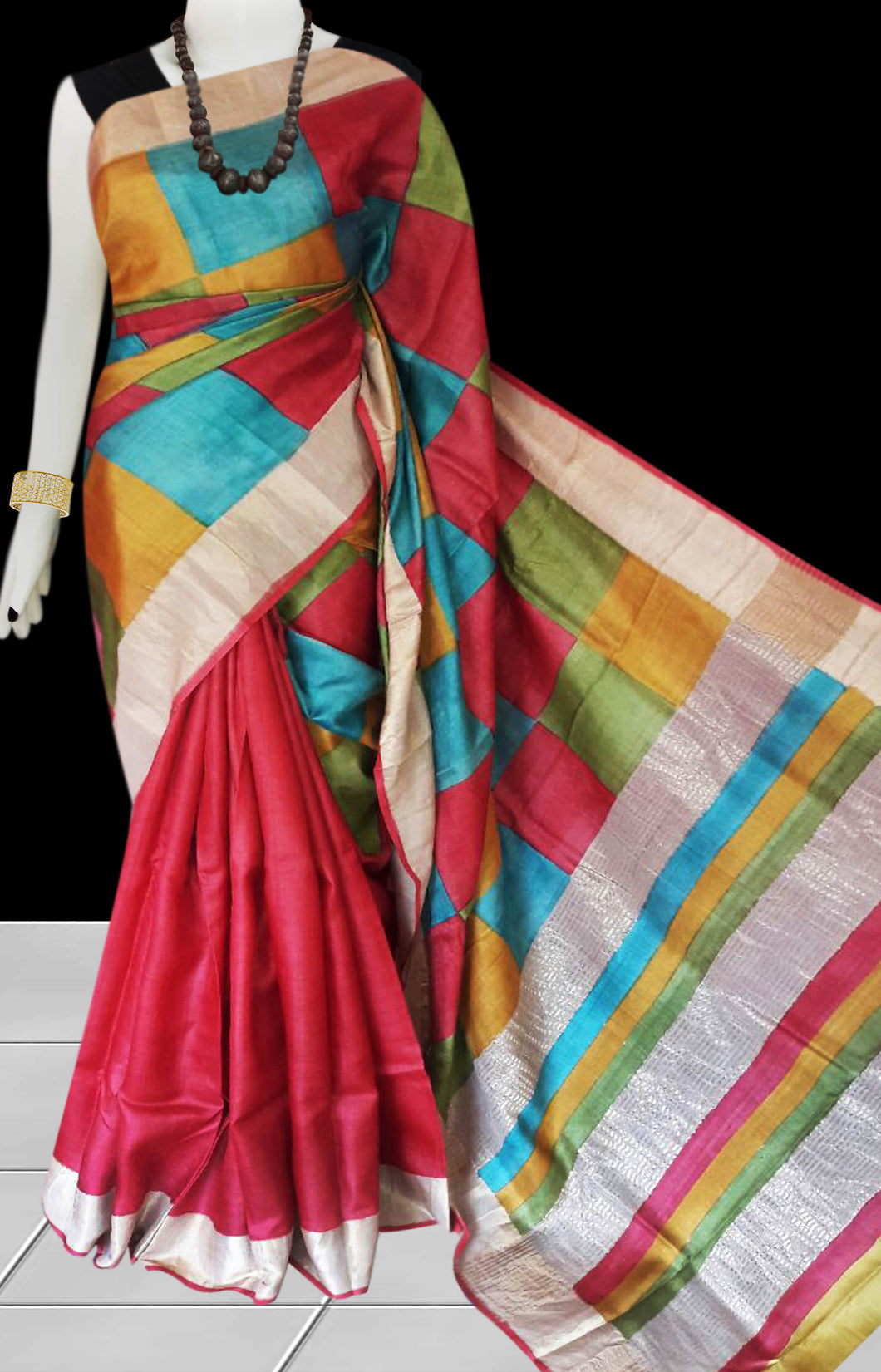 Red, Blue & Yellow Color Pure Tusser silk block printed saree