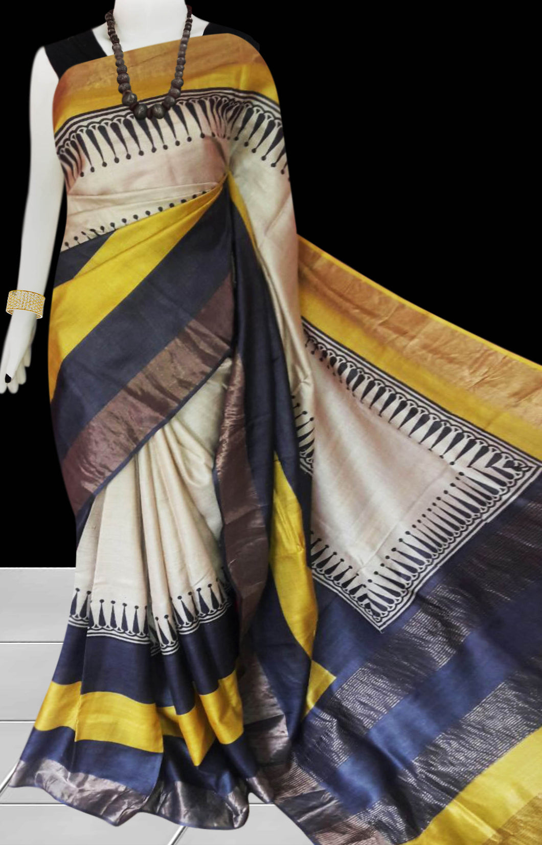 White, Blue & Yellow Color Pure Tusser silk block printed saree