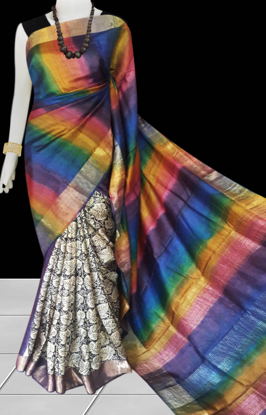 Multi-Color Pure Tusser silk block printed saree