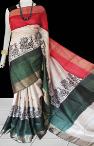 Green & White Color Pure Tusser silk block printed saree