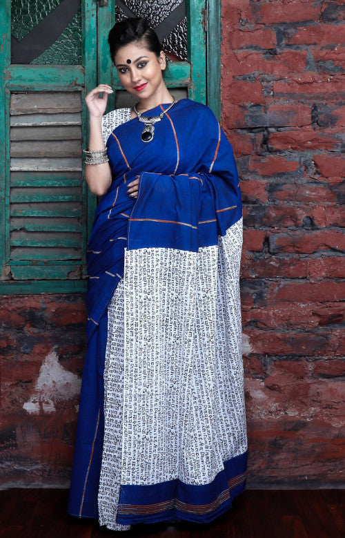 Blue color mulmul khesh cotton handmade saree