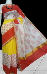 Delightful white color Kerala cotton saree with block print