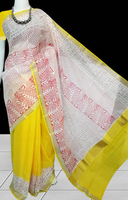 White & yellow Kerala cotton saree with block print