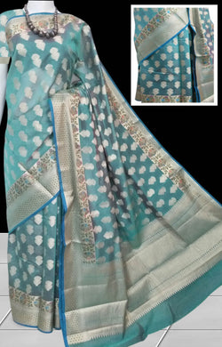 Traditional Banarasi Silk Saree in Baby blue;silver color