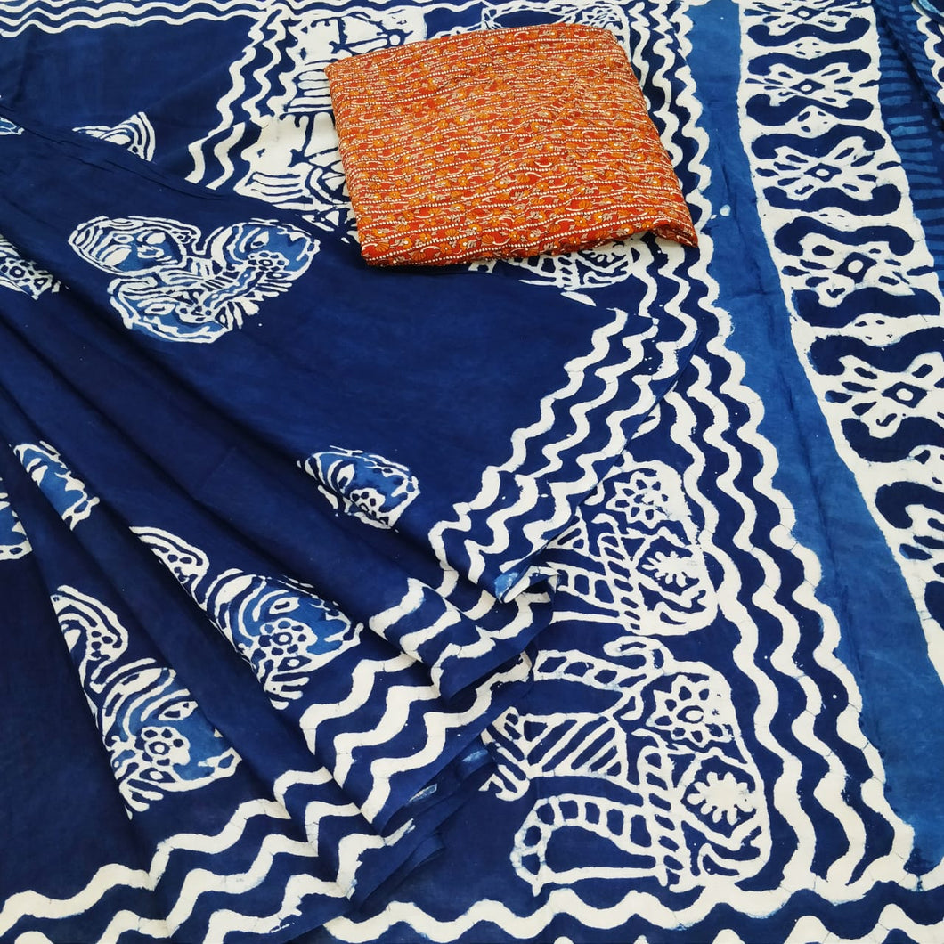 Blue base Pure cotton saree with Batik print