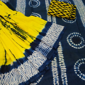 Yellow base Pure cotton saree with Batik print