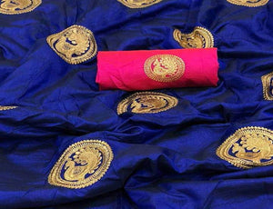 Royal Blue Base Sana Silk Saree
