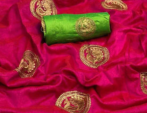 Dark Pink Base Sana Silk Saree