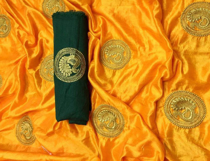 Golden Yellow Base Sana Silk Saree