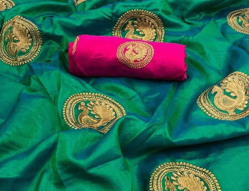 Sea Green Base Sana Silk Saree