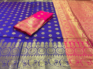 Royal Blue Base Soft Banarasi Silk Saree