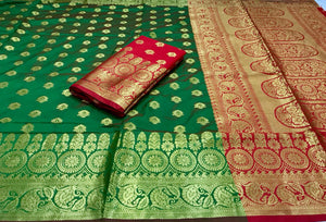 Green Base Soft Banarasi Silk saree