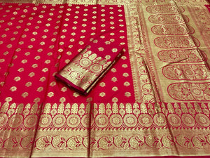 Fresh Red Color Soft Banarasi Silk Saree