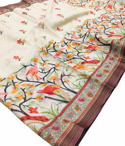 Cream Base Bird Printed Soft Fabric Bezer Saree