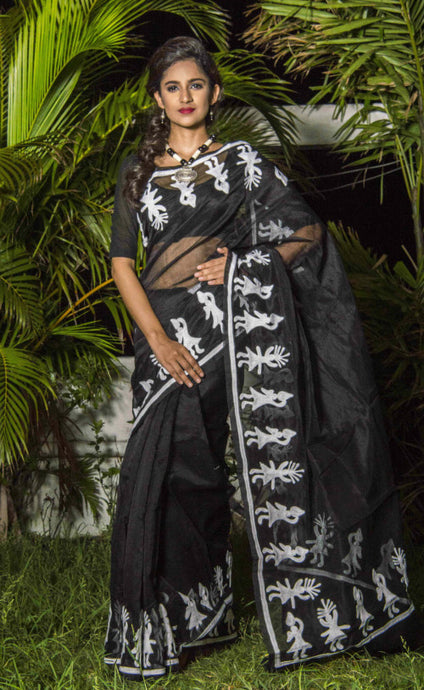 Dazzling black color super net saree with Aari work