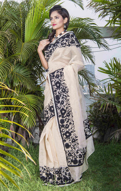 Super net saree with Aari work