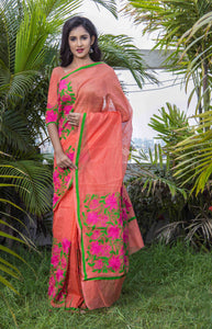 Modish orange super net saree with Aari work