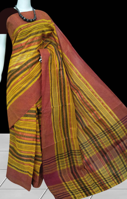 Handmade tant saree, featured with resham thread work