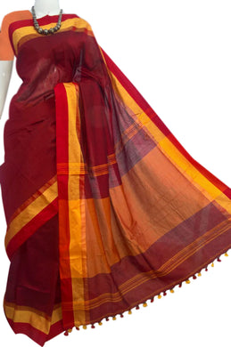 Cotton handfinished saree in Maroon & turmeric yellow color
